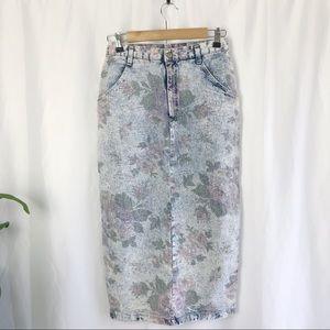 Vintage Acid Wash Floral jean skirt